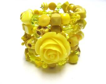 Day Of The Dead Sugar Skull Bracelet Flor de Muertos Lemon Sunshine Burst Rose Cuff Wrap