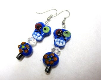Day Of The Dead Earrings Sugar Skull Blue Lampwork