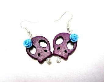 Sugar Skull Earrings Day of the Dead Purple Blue Rose