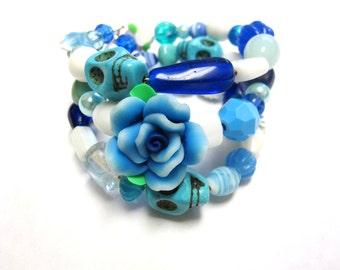 Day Of The Dead Bracelet Sugar Skull Cuff Rose Blue White