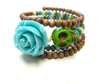 Day of the Dead Bracelet Sugar Skull Cuff Wrap Rose Blue Green Brown
