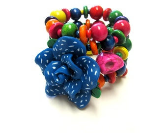 Day of the Dead Bracelet Blue Pink Yellow Green Sugar Skull Wrap Cuff