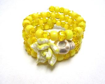 Day Of The Dead Bracelet Sugar Skull Wrap Yellow White Rose