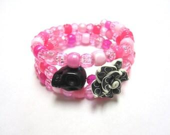 Skull Bracelet Day of the Dead Sugar Skull Wrap Pink Black Bracelet
