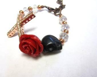 Day of the Dead Bracelet Sugar Skull Strand Rose Cross Black Red Copper