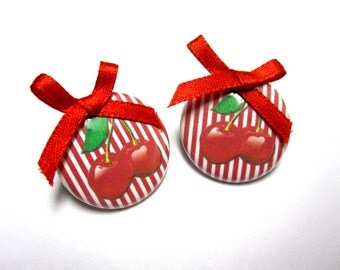 Cherry Post Earrings Red White