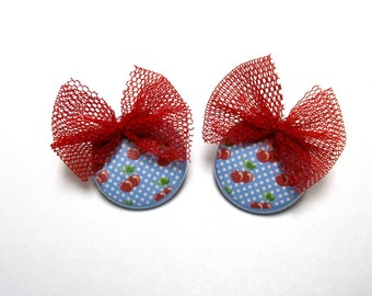 Rockabilly Sweetie Jewelry Fresh Fruit Cherry Earrings Day Of The Dead Bow Post Red White Blue