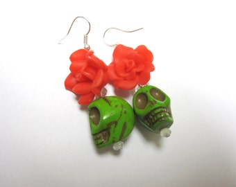 Green Sugar Skull Earrings Day of the Dead Red Rose
