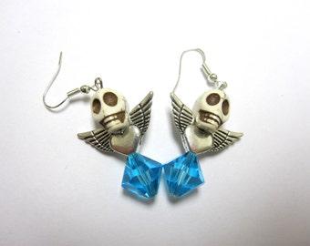 White Blue Wings Rose Day of the Dead Earrings Sugar Skull Jewelry