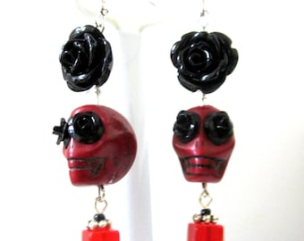 Red Black Rose Flower Day of the Dead Earrings Sugar Skull Jewelry
