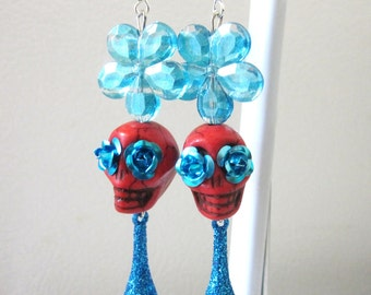Day of the Dead Earrings Sugar Skull Jewelry Blue Red Flower