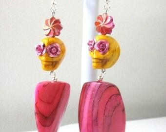 Day of the Dead Earrings Sugar Skull Jewelry Golden Yellow Pink Flower