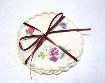 Coasters Set Of Six Embroidered Flower Vintage Doilys