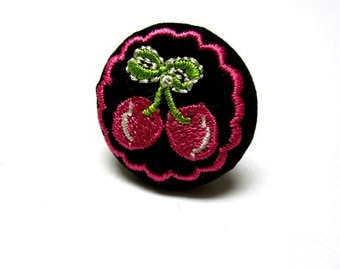 Rockabilly Embroidered Cherry Ring Fresh Fruit Cherries Jewelry