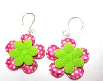Rockabilly Flower Earrings Polka Dot Jewelry White Green Pink