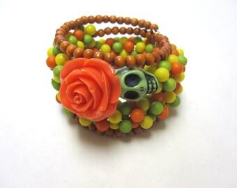 Day of the Dead Bracelet Sugar Skull Green Yellow Tangerine Orange Rose