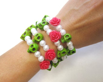 Day of the Dead Bracelet Sugar Skull Wrap Around Cuff Green White Hot Pink Rose