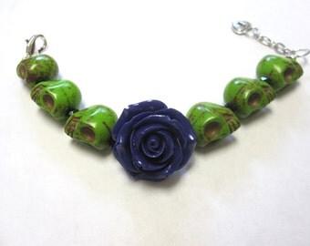 Sugar Skull Bracelet Green Purple Rose Day Of The Dead Jewelry