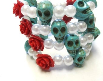 Day of the Dead Bracelet Sugar Skull Wrap Turquoise Blue Red Rose White