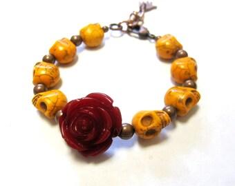 Day of the Dead Bracelet Sugar Skull Strand Rose Mustard Yellow Red