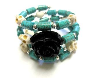 Day Of The Dead Bracelet Sugar Skull Wrap Cuff Turquoise Blue White Black Rose