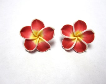 Red Flower Earrings Sweet Hibiscus Post Stud