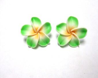 Green Hibiscus Flower Earrings Floral Post Stud