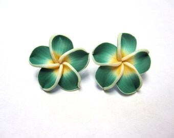 Green Flower Earrings Sweet Hibiscus Post