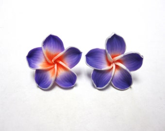 Purple Flower Earrings Sweet Hibiscus Post