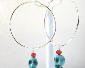 Day of the Dead Earrings Sugar Skull Jewelry Huge Hoop
