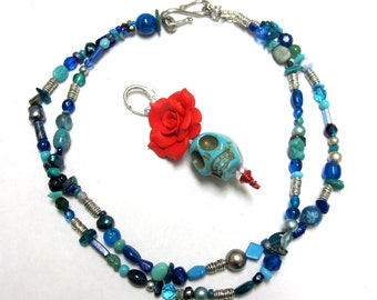 Day of the Dead Necklace Sugar Skull Strand Rose Turquoise Blue Adjustable