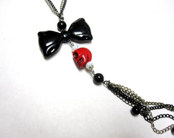 Red Sugar Skull Necklace Black Bow Jewelry