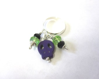 Sugar Skull Ring Day Of The Dead Jewelry Dangle Purple Lime Green