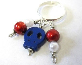 Sugar Skull Ring Day Of The Dead Jewelry Red White Blue