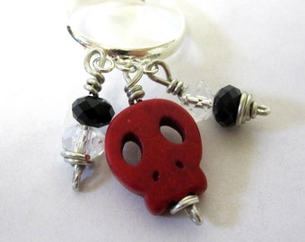 Sugar Skull Ring Day Of The Dead Jewelry Dangle Red Black