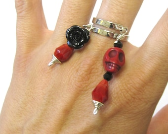 Rose And Skull Ring Black Rose Day Of The Dead Jewelry