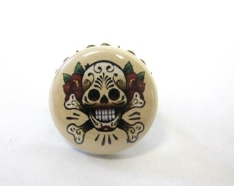 Sugar Skull Ring Tatoo Style Adjustable Day of the Dead Jewelry
