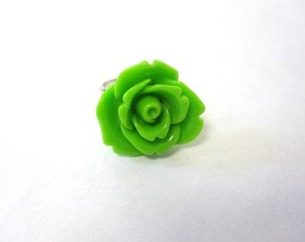 Lime Green Rose Ring Adjustable