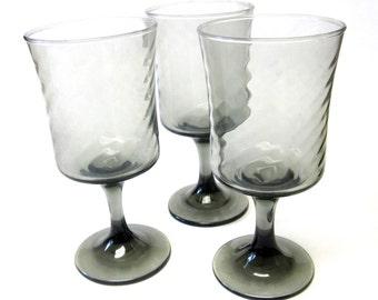 Modern Smoke Black Wine Glasses Stemmed Drinking Glass Set Of Three 70s