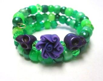 Sugar Skull Bracelet Day Of The Dead Black Purple Lime Green Itty Bitty Pretties