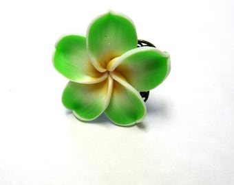 Green Flower Ring Floral Large Adjustable