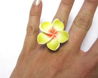 Yellow Flower Ring Large Hibiscus Ring