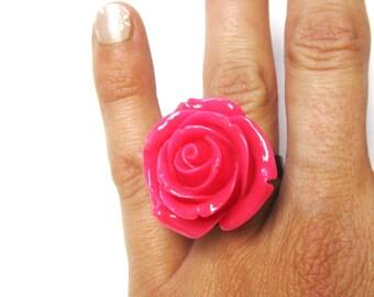 Large Rose Ring Floral Hot Pink Flower