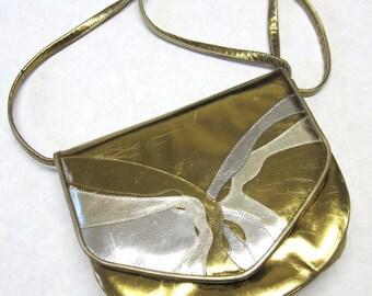 Gold Silver Metallic Leather Purse Firmside Hardside Handbag Stuart Weitzman Designer Shoulderbag