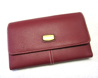 Wallet Cranberry Red Billfold Trifold