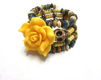 Sugar Skull Bracelet Day of the Dead Wrap Cuff Brown Cream Turquoise Blue Yellow Rose