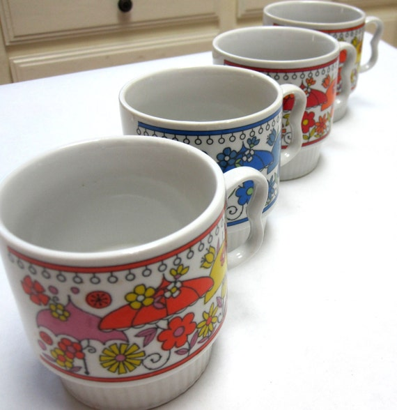 Set of Four White & Multi Colored Floral Ceramic  Mugs Coffee Cups