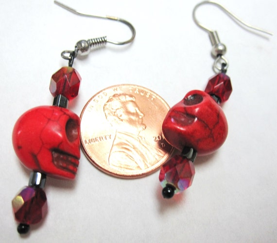 Red Crystals w/ Blood Red Baby Sugar Skulls Earrings