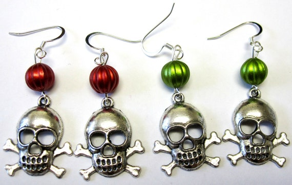 Skull Earrings Jolly Roger Style For You and Friend 2 pairs