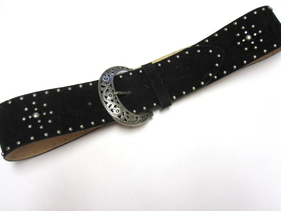 wide black suede leather belt with rivets by sweetie2sweetie